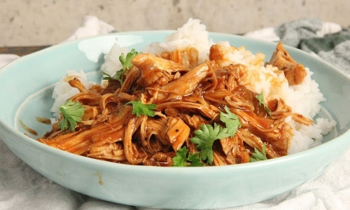 Slow Cooker BBQ Peach Bourbon Chicken