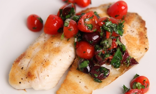 Grilled tilapia with raw Puttanesca salsa Recipe| Laura in the Kitchen