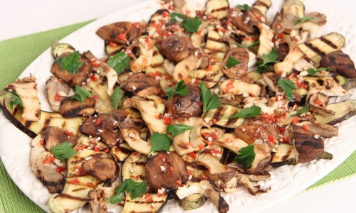Grilled Eggplant and Wild Mushroom Salad
