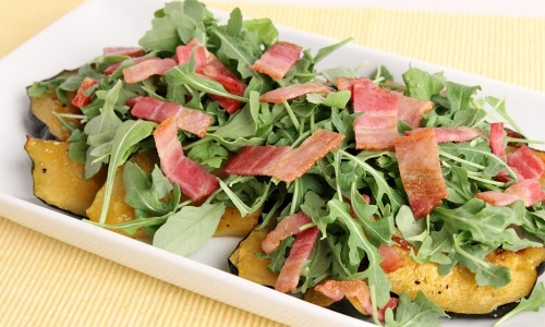 Roasted Acorn Squash with Bacon and Arugula
