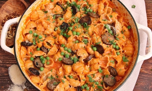 Pasta with Vodka Sauce Sausage and Peas