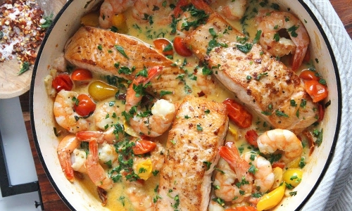 Salmon and Shrimp in Cream Sauce