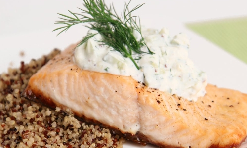 Seared Salmon with Dill Cucumber Sauce