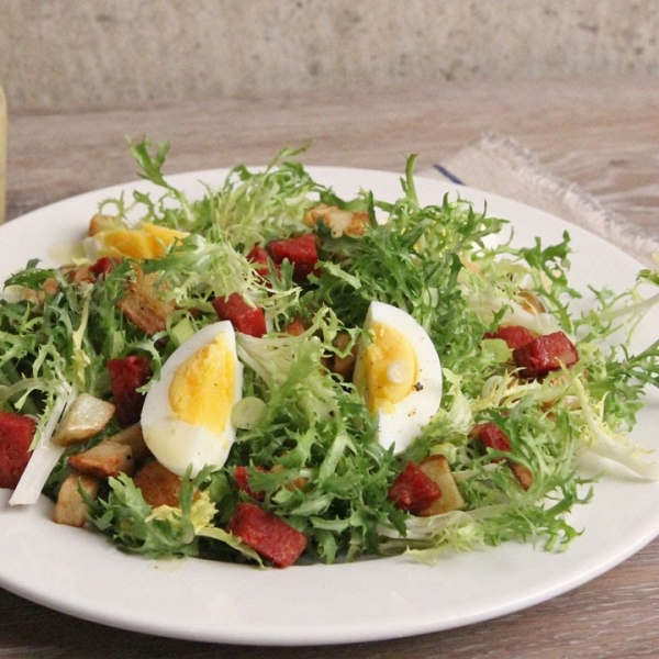 Frisee Salad With Potatoes And Hot Salami