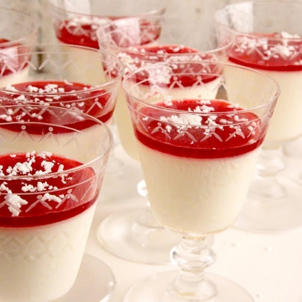 Orange Panna Cotta with Cranberry Syrup