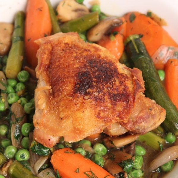 Crispy Chicken with Spring Braised Vegetables