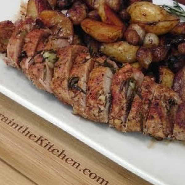 Balsamic Rosemary Pork Tenderloin with Potatoes and Pearl Onions