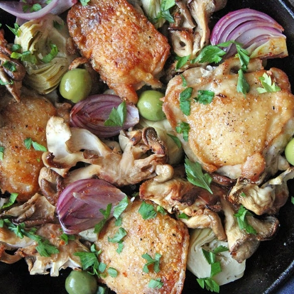 Crispy Chicken with Mushrooms and Garlic