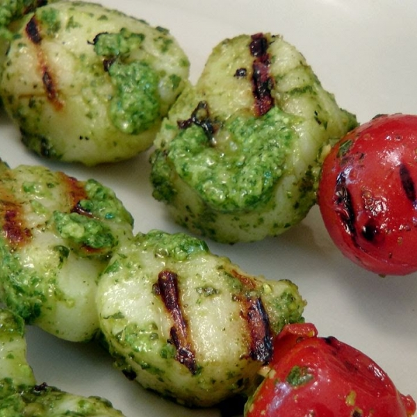 Grilled Pesto Scallop Skewers