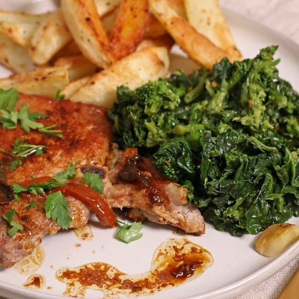 My Classic Pork Chops with Broccoli Rabe