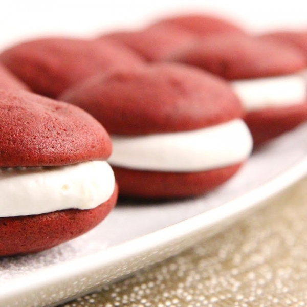 Red Velvet Whoopie Pies with Marshmallow Filling
