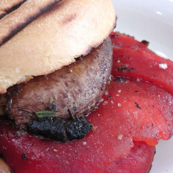 Roasted Pepper and Portobello Mushrooms Panini