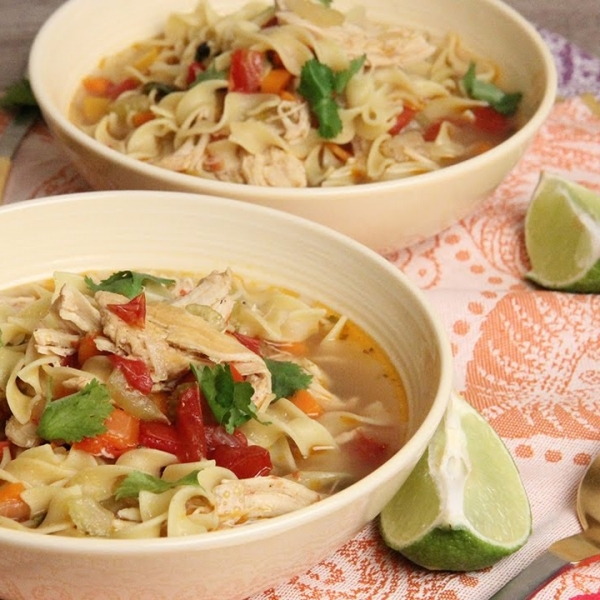 Tex Mex Chicken Noodle Soup