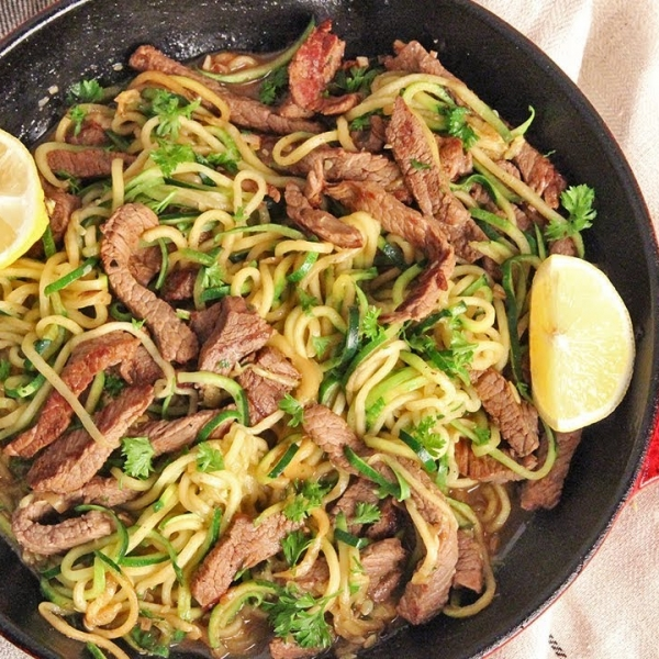 Zoodles with Beef Tips Stir Fry